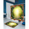 3D Tree Hole Forest Pathway Bath Shower Curtain - GREEN