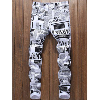 Buy WHITE 38 Zipper Fly Newspapers Print Skinny Jeans for $41.18 in GearBest store