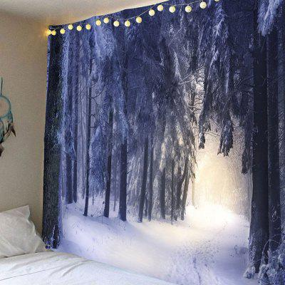 Snow Covering Forest Printed Wall Art Hanging Tapestry
