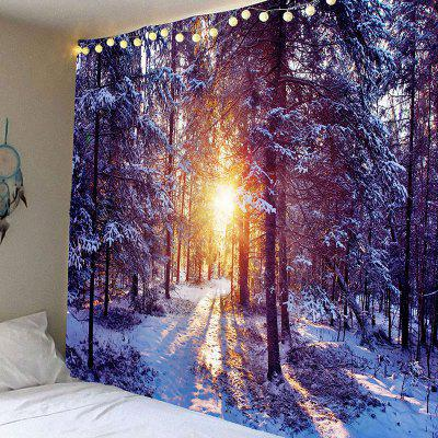 Morning Sunlight Snow Forest Printed Wall Art Tapestry
