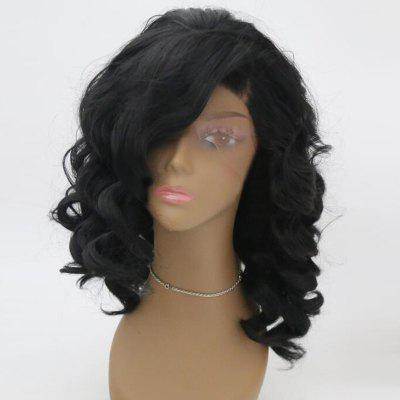 Lace Front Medium Side Parting Fluffy Wavy Synthetic Wig