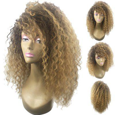 Long Shaggy Side Bang Colormix Wavy Synthetic Wig