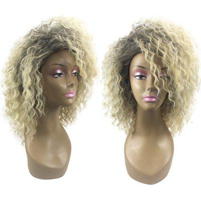 Medium Colormix Side Bang Fluffy Wavy Synthetic Wig
