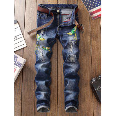 Phoenix Embroidery Distressed JeansMens Pants<br>Phoenix Embroidery Distressed Jeans<br><br>Closure Type: Zipper Fly<br>Fit Type: Regular<br>Material: Cotton, Polyester<br>Package Contents: 1 x Jeans<br>Pant Length: Long Pants<br>Pant Style: Straight<br>Waist Type: Mid<br>Wash: Stonewashed<br>Weight: 0.6200kg<br>With Belt: No