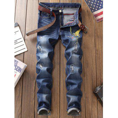 Bird Embroidery Distressed JeansMens Pants<br>Bird Embroidery Distressed Jeans<br><br>Closure Type: Zipper Fly<br>Fit Type: Regular<br>Material: Cotton, Polyester<br>Package Contents: 1 x Jeans<br>Pant Length: Long Pants<br>Pant Style: Straight<br>Waist Type: Mid<br>Wash: Stonewashed<br>Weight: 0.6200kg<br>With Belt: No