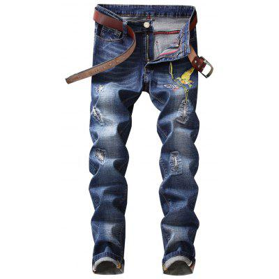 Bird Embroidery Distressed Jeans
