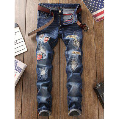 Straight Leg Patched JeansMens Pants<br>Straight Leg Patched Jeans<br><br>Closure Type: Zipper Fly<br>Fit Type: Regular<br>Material: Cotton, Polyester<br>Package Contents: 1 x Jeans<br>Pant Length: Long Pants<br>Pant Style: Straight<br>Waist Type: Mid<br>Wash: Stonewashed<br>Weight: 0.6200kg<br>With Belt: No