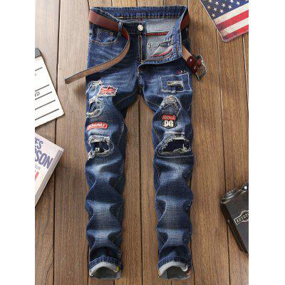 Straight Leg Patch Jeans with Knee Rips портмоне trussardi jeans trussardi jeans tr016bmoos67