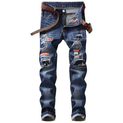 Straight Leg Patch Jeans with Knee Rips