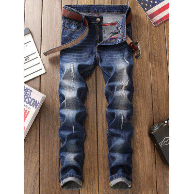 Straight Leg Frayed JeansMens Pants<br>Straight Leg Frayed Jeans<br><br>Closure Type: Zipper Fly<br>Fit Type: Regular<br>Material: Cotton, Polyester<br>Package Contents: 1 x Jeans<br>Pant Length: Long Pants<br>Pant Style: Straight<br>Waist Type: Mid<br>Wash: Destroy Wash<br>Weight: 0.6200kg<br>With Belt: No