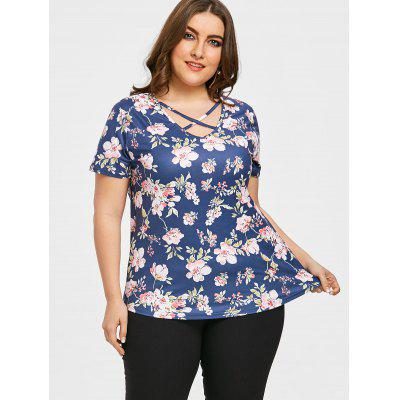 Floral Plus Size Caged Cutout T-shirtPlus Size Tops<br>Floral Plus Size Caged Cutout T-shirt<br><br>Collar: Scoop Neck<br>Embellishment: Cut Out<br>Material: Cotton Blends, Polyester<br>Package Contents: 1 x Tee<br>Pattern Type: Floral<br>Season: Summer, Spring<br>Shirt Length: Regular<br>Sleeve Length: Short<br>Style: Fashion<br>Weight: 0.6000kg