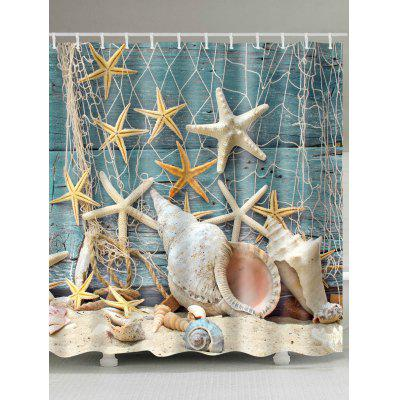 Waterproof Starfish and Shell Printed Bath Shower Curtain- W71 INCH * L71 INCH COLORMIX