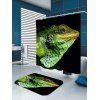 Waterproof Chameleon Head Print Shower Curtain - GREEN