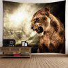 Roaring Lion Printed Hanging Wall Art Tapestry - BROWN