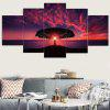 Sunset Glow Seascape Printed Split Unframed Canvas Paintings - COLORFUL