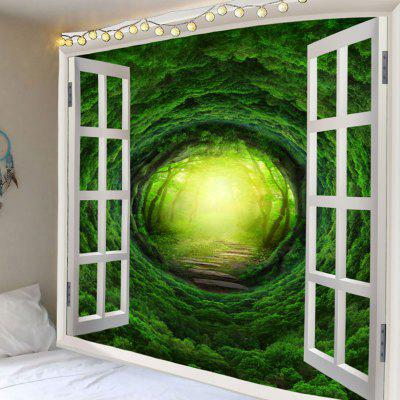 Window Dreamlike Forest Tree Hole Printed Wall Hanging Tapestry