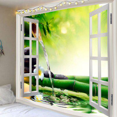 Window Bamboo Running Water Printed Wall Hanging Tapestry