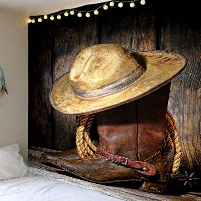 West Cowboy Cap and Boots Printed Wall Tapestry