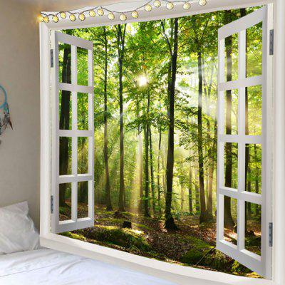 Window Outside Sunlight Forest Printed Tapestry