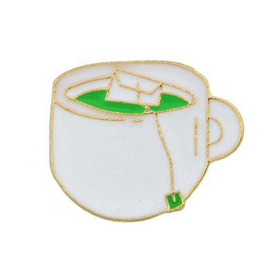 Tea Cup Shape Metallic Brooch