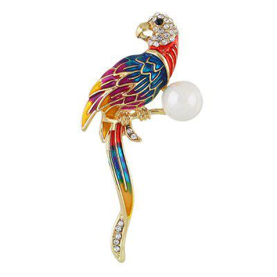 Artificial Pearl Long Tail Bird Brooch