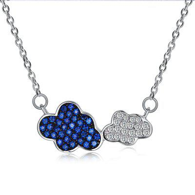 Two Tone Rhinestone Cloud Sterling Silver Necklace