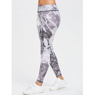 Monochrome Floral Print Skinny Sports Leggings