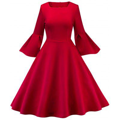 Vintage Bell Sleeve Fit and Flare Dress