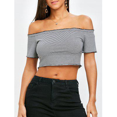 Striped Off The Shoulder Cropped T-shirt