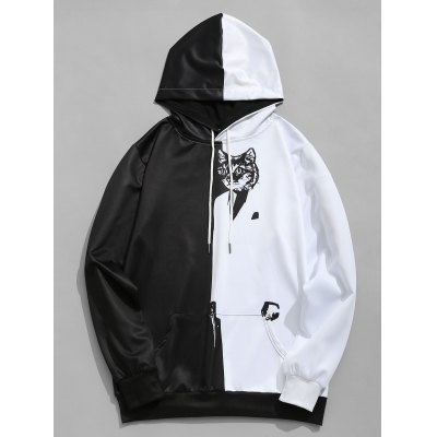 Cat Graphic Two Tone Hoodie