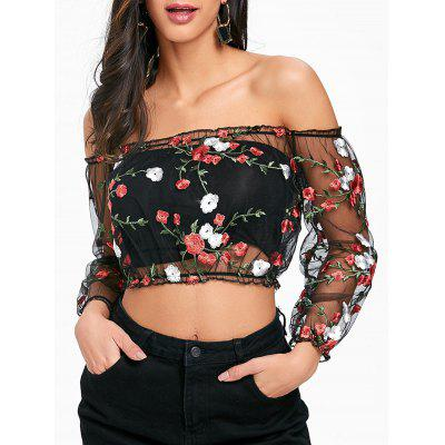 Embroidery Mesh Off The Shoulder Crop Top