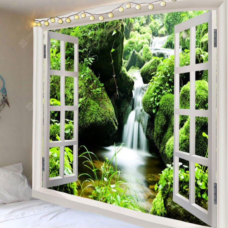Moss Stream Faux Window Print Tapestry Wall Decor