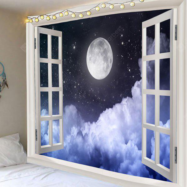 Full Moon Clouds Night Sky Print Wall Tapestry