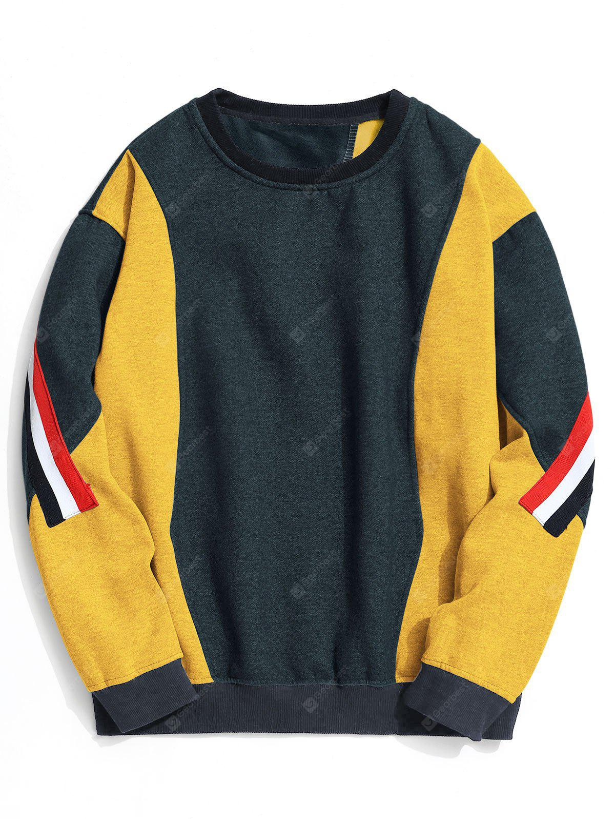 Crew Neck Fleece Color Block Sweatshirt