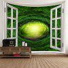 Window Dreamlike Forest Tree Hole Printed Wall Hanging Tapestry - GREEN