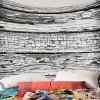Peeling Wood Board Printed Polyester Waterproof Wall Hanging Tapestry - GREY WHITE