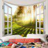 Dawn Pine Forest Trail Print Wall Hanging Tapestry - GREEN
