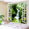 Moss Stream Faux Window Print Tapestry Wall Decor - GREEN