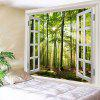 Window Outside Sunlight Forest Printed Tapestry - GREEN