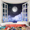 Full Moon Clouds Night Sky Print Wall Tapestry - COLORFUL