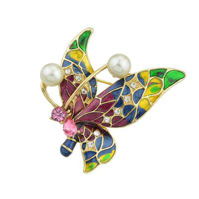 Vintage Style Rhinestone Inlay Butterfly Brooch