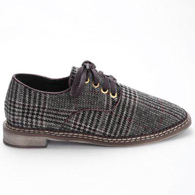 Cork Heel Checked Casual Shoes