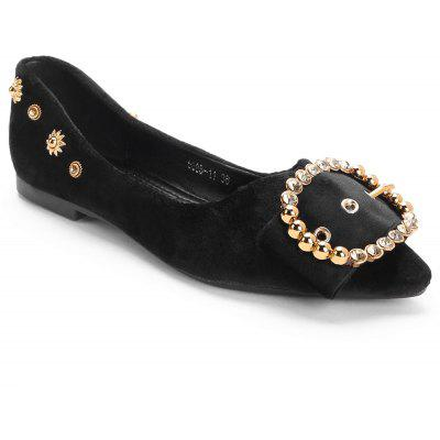 Round Buckled Pointy Toe Flats