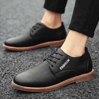 Lace Up Faux Leather ShoesFormal Shoes<br>Lace Up Faux Leather Shoes<br><br>Closure Type: Lace-Up<br>Embellishment: Letter<br>Gender: For Men<br>Occasion: Casual<br>Outsole Material: Rubber<br>Package Contents: 1 x Casual Shoes (pair)<br>Pattern Type: Solid<br>Season: Summer, Spring/Fall<br>Shoe Width: Medium(B/M)<br>Toe Shape: Round Toe<br>Toe Style: Closed Toe<br>Upper Material: PU<br>Weight: 1.1400kg