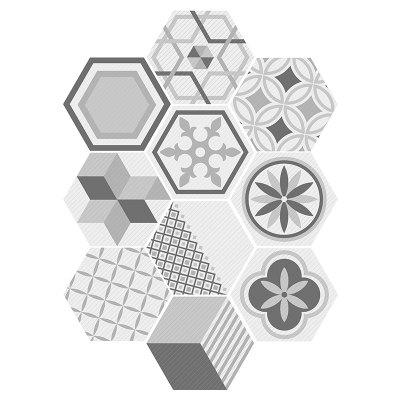 Hexagon Shape Geometric Wall Tile Calcomanías Set