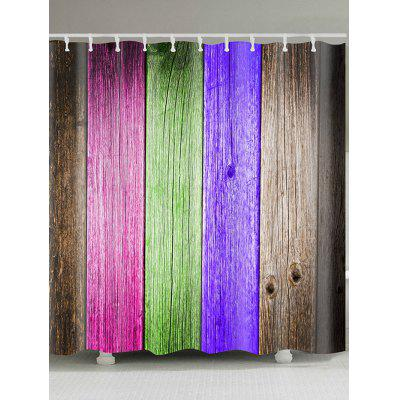 Colorful Wood Board Printed Waterproof Shower Curtain- W59 INCH * L71 INCH COLORFUL