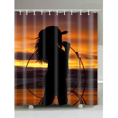 sunset west cowgirl print fabric shower curtain