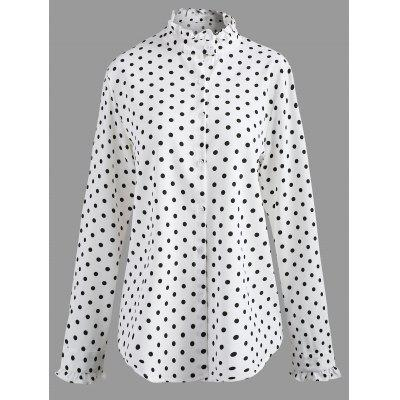 Plus Size Polka Dot Ruffle Trim Shirt