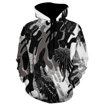 Wing Pattern Camouflage Pullover Hoodie