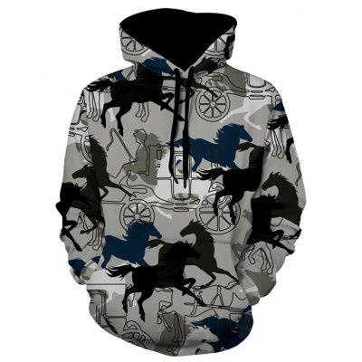 Horse Carriage Pattern Pullover Hoodie